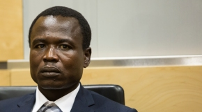 On 26 January 2015, Dominic Ongwen appeared before the Single Judge of Pre-Trial Chamber II of the International Criminal Court (ICC), Judge Ekaterina Trendafilova, at the seat of the ICC in The Hague (The Netherlands).   Pictured here: Dominic Ongwen at his first appearance hearing on 26 January 2015 at the International Criminal Court in The Hague ©ICC-CPI